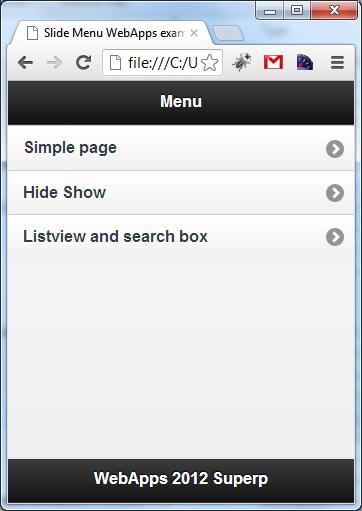 WebApps | slide menu jquerymobile - SUPERP